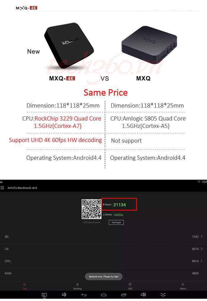 Android TV Box MXQ 4K giá rẻ chính hãng