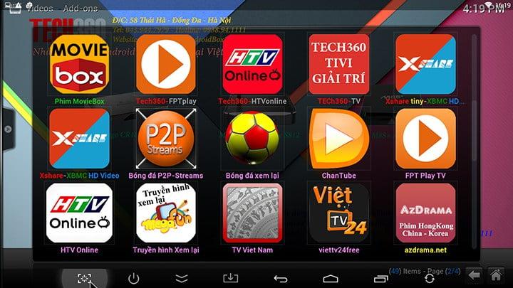 Kodi 14.2 cho Android TV Box được tích hợp đầy đủ addon của Tech360