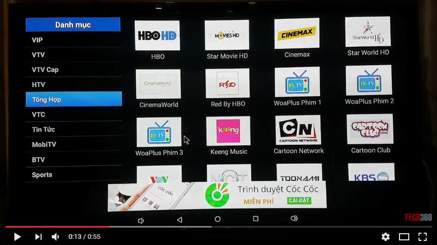 Ứng dụng xem truyền hình trên Android TV Box Kiwibox S8 Pro